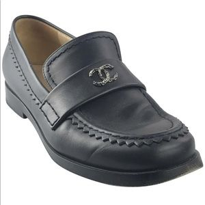 AUTHENTIC CHANEL NAVY LOAFERS